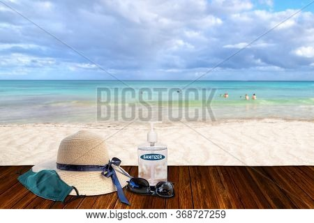 Vacationing In The New Normal After Covid-19 Coronavirus Pandemic. Tourism Concept Showing Sandy Bea