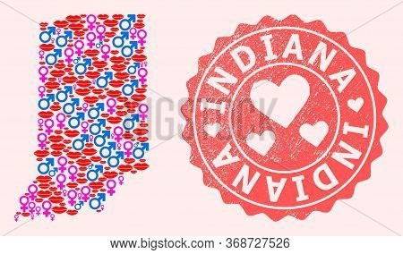 Vector Composition Of Sexy Smile Map Of Indiana State And Red Grunge Stamp With Heart. Map Of Indian