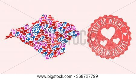 Vector Collage Of Love Smile Map Of Isle Of Wight And Red Grunge Seal With Heart. Map Of Isle Of Wig
