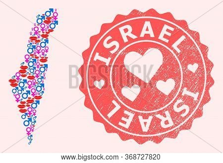 Vector Composition Of Sexy Smile Map Of Israel And Red Grunge Seal With Heart. Map Of Israel Collage