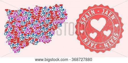 Vector Collage Of Love Smile Map Of Jaen Spanish Province And Red Grunge Stamp With Heart. Map Of Ja