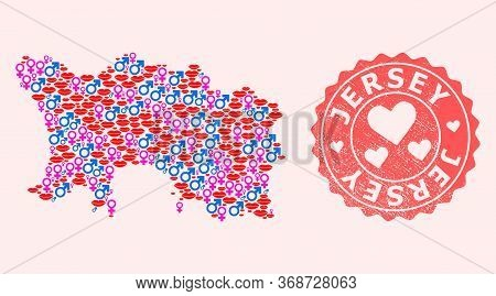 Vector Collage Of Love Smile Map Of Jersey Island And Red Grunge Seal Stamp With Heart. Map Of Jerse