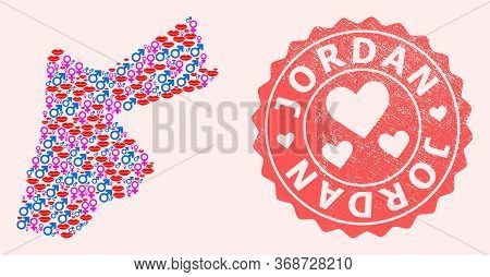 Vector Collage Of Love Smile Map Of Jordan And Red Grunge Stamp With Heart. Map Of Jordan Collage Co