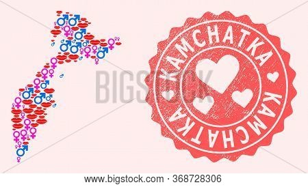 Vector Composition Of Love Smile Map Of Kamchatka Peninsula And Red Grunge Seal With Heart. Map Of K