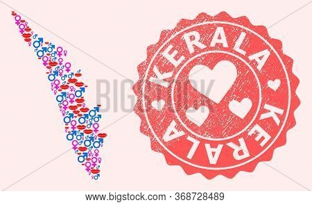 Vector Collage Of Love Smile Map Of Kerala State And Red Grunge Seal With Heart. Map Of Kerala State