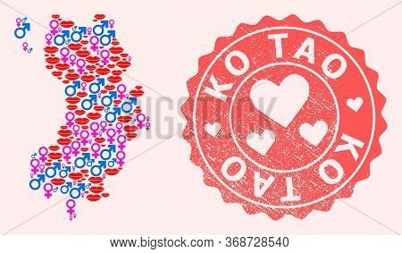 Vector Collage Of Love Smile Map Of Ko Tao And Red Grunge Seal With Heart. Map Of Ko Tao Collage For