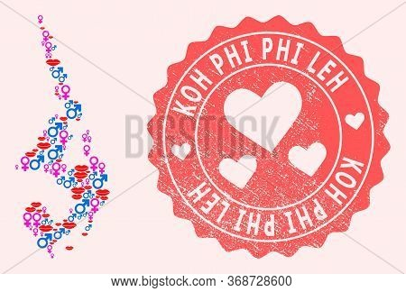 Vector Collage Of Love Smile Map Of Koh Phi Leh And Red Grunge Seal Stamp With Heart. Map Of Koh Phi