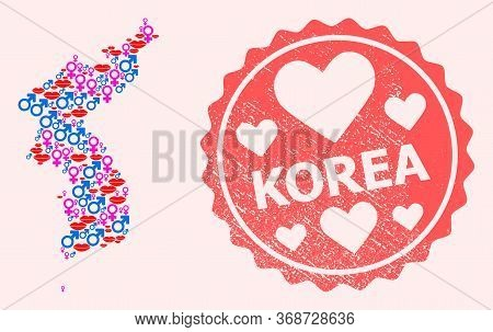 Vector Collage Of Sexy Smile Map Of Korea And Red Grunge Seal With Heart. Map Of Korea Collage Desig
