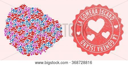Vector Collage Of Love Smile Map Of La Gomera Island And Red Grunge Stamp With Heart. Map Of La Gome