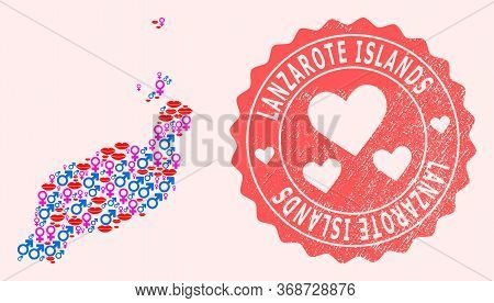 Vector Composition Of Sexy Smile Map Of Lanzarote Islands And Red Grunge Stamp With Heart. Map Of La