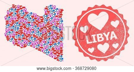 Vector Collage Of Love Smile Map Of Libya And Red Grunge Stamp With Heart. Map Of Libya Collage Desi