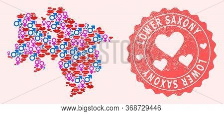 Vector Combination Of Love Smile Map Of Lower Saxony State And Red Grunge Seal With Heart. Map Of Lo