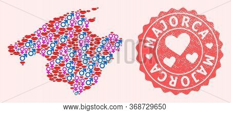 Vector Collage Of Love Smile Map Of Majorca And Red Grunge Stamp With Heart. Map Of Majorca Collage
