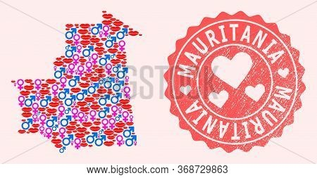 Vector Collage Of Love Smile Map Of Mauritania And Red Grunge Seal With Heart. Map Of Mauritania Col