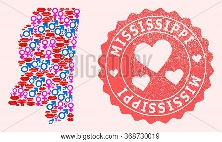 Vector Collage Of Sexy Smile Map Of Mississippi State And Red Grunge Seal Stamp With Heart. Map Of M