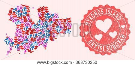 Vector Collage Of Love Smile Map Of Mykonos Island And Red Grunge Seal Stamp With Heart. Map Of Myko