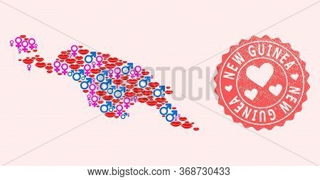 Vector Collage Of Love Smile Map Of New Guinea Island And Red Grunge Seal With Heart. Map Of New Gui