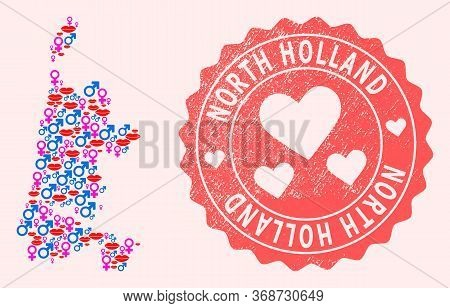 Vector Collage Of Love Smile Map Of North Holland And Red Grunge Seal With Heart. Map Of North Holla