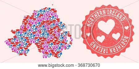 Vector Combination Of Love Smile Map Of Northern Ireland And Red Grunge Seal Stamp With Heart. Map O