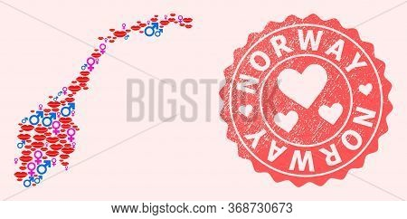 Vector Composition Of Love Smile Map Of Norway And Red Grunge Seal With Heart. Map Of Norway Collage