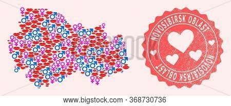 Vector Collage Of Sexy Smile Map Of Novosibirsk Region And Red Grunge Seal With Heart. Map Of Novosi