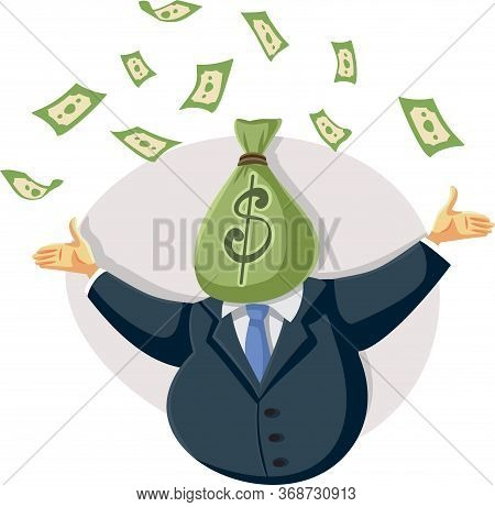 Wealthy Rich  Businessman Throwing With Money In The Air