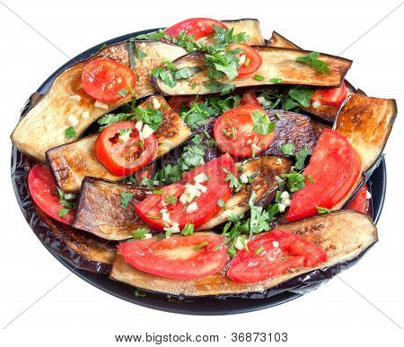 Fried Eggplants With Red Tomato And Garlic