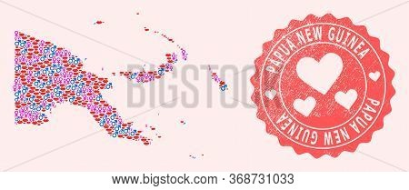 Vector Combination Of Love Smile Map Of Papua New Guinea And Red Grunge Stamp With Heart. Map Of Pap