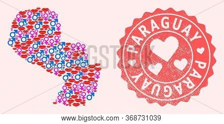 Vector Collage Of Love Smile Map Of Paraguay And Red Grunge Seal Stamp With Heart. Map Of Paraguay C