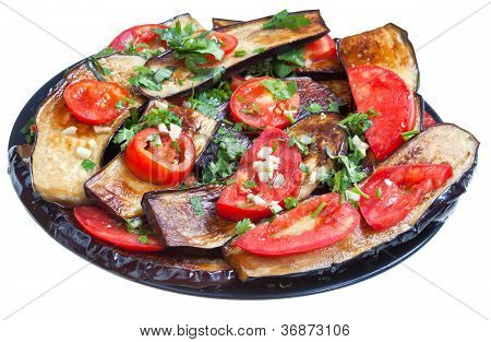 Fried Eggplants With Red Tomato