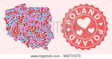 Vector Collage Of Sexy Smile Map Of Poland And Red Grunge Seal With Heart. Map Of Poland Collage For