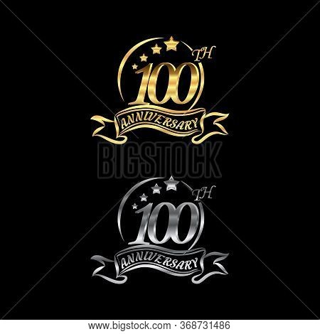 Celebrating The 100th Anniversary Logo,star Shape, With Gold And Silver Rings And Gradation Ribbons