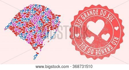Vector Collage Of Love Smile Map Of Rio Grande Do Sul State And Red Grunge Seal With Heart. Map Of R