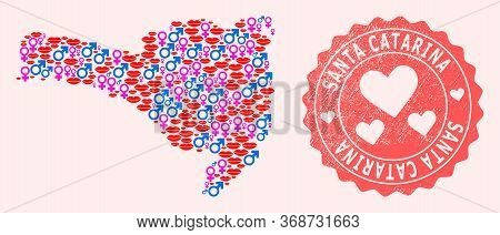 Vector Collage Of Sexy Smile Map Of Santa Catarina State And Red Grunge Seal Stamp With Heart. Map O