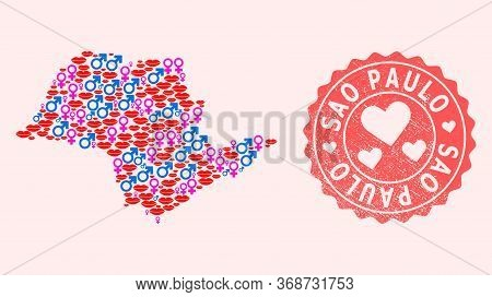 Vector Combination Of Love Smile Map Of Sao Paulo State And Red Grunge Seal Stamp With Heart. Map Of