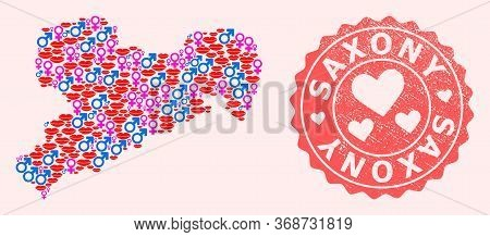 Vector Collage Of Sexy Smile Map Of Saxony State And Red Grunge Seal Stamp With Heart. Map Of Saxony