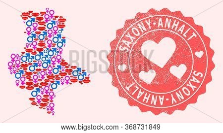 Vector Combination Of Love Smile Map Of Saxony-anhalt State And Red Grunge Seal With Heart. Map Of S