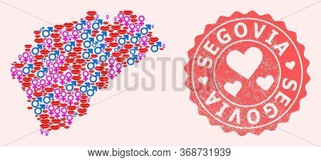 Vector Composition Of Love Smile Map Of Segovia Province And Red Grunge Seal Stamp With Heart. Map O