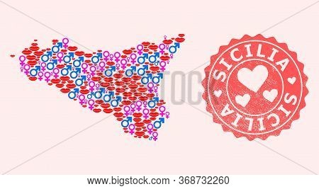 Vector Collage Of Love Smile Map Of Sicilia Island And Red Grunge Seal Stamp With Heart. Map Of Sici