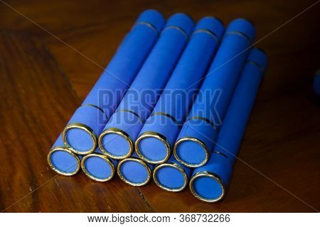 Graduation, Several Diplomas Stacked In Graduation Ceremony, Graduation Day, Degree Collation Straw,