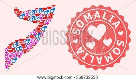 Vector Collage Of Love Smile Map Of Somalia And Red Grunge Seal Stamp With Heart. Map Of Somalia Col