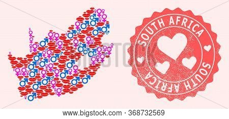 Vector Combination Of Love Smile Map Of South African Republic And Red Grunge Seal Stamp With Heart.