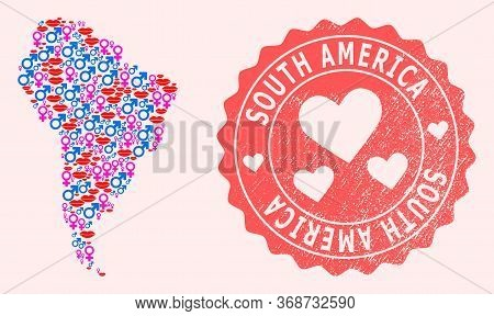 Vector Collage Of Love Smile Map Of South America And Red Grunge Seal Stamp With Heart. Map Of South