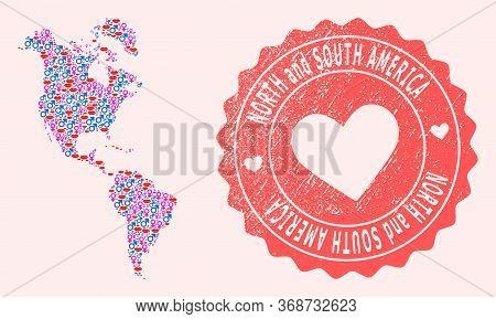Vector Collage Of Love Smile Map Of South And North America And Red Grunge Stamp With Heart. Map Of