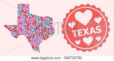 Vector Collage Of Sexy Smile Map Of Texas State And Red Grunge Seal Stamp With Heart. Map Of Texas S