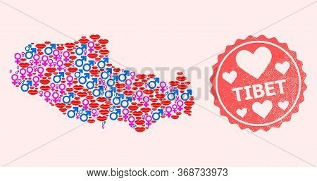 Vector Collage Of Love Smile Map Of Tibet And Red Grunge Seal With Heart. Map Of Tibet Collage Forme