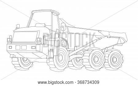 Children Linear Drawing For Coloring. Construction Dump Truck And Linear. Industrial Machinery And E