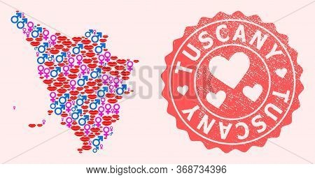 Vector Collage Of Love Smile Map Of Tuscany Region And Red Grunge Stamp With Heart. Map Of Tuscany R