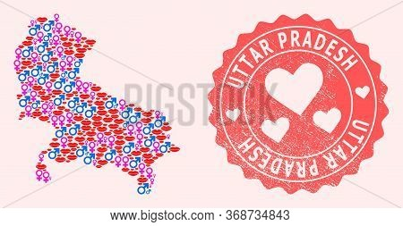 Vector Collage Of Love Smile Map Of Uttar Pradesh State And Red Grunge Stamp With Heart. Map Of Utta