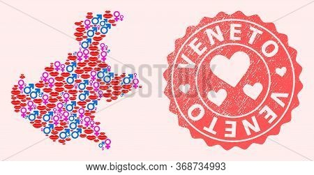 Vector Collage Of Love Smile Map Of Veneto Region And Red Grunge Stamp With Heart. Map Of Veneto Reg